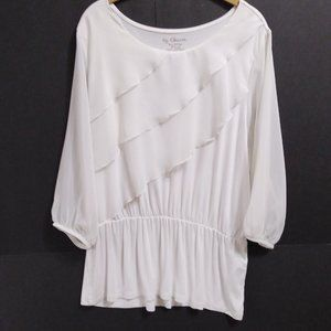 Chico's Sz 2 Large XL Off White Ruffled Tunic Top